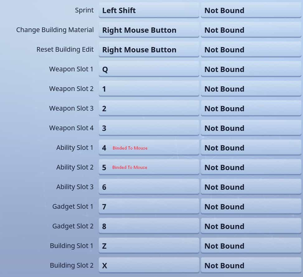 MYTH FORTNITE KEYBINDS