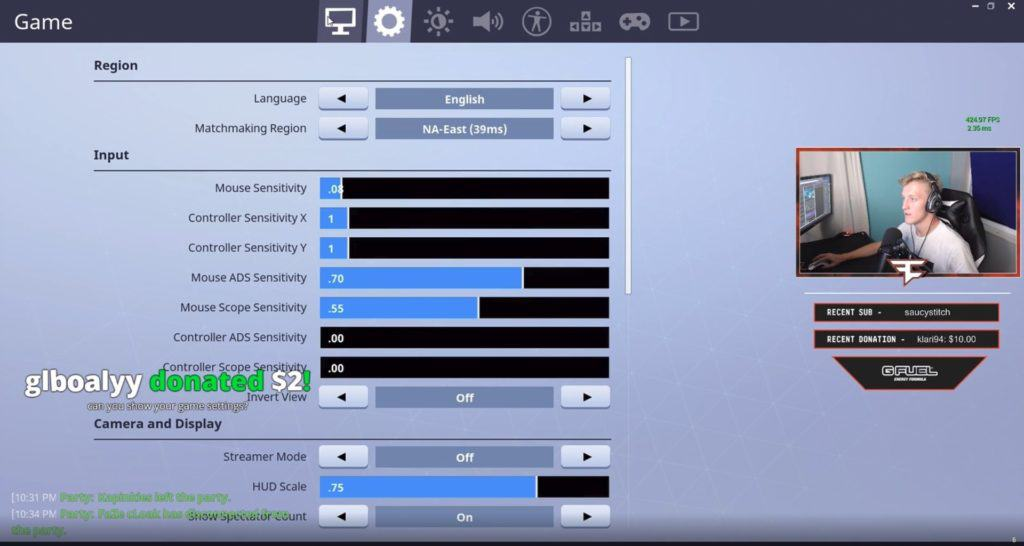 FaZe Tfue Fortnite Settings  Keybinds, Sensitivity (August 2019)