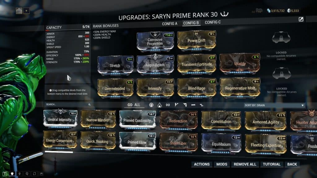 Saryn Premade Group Build